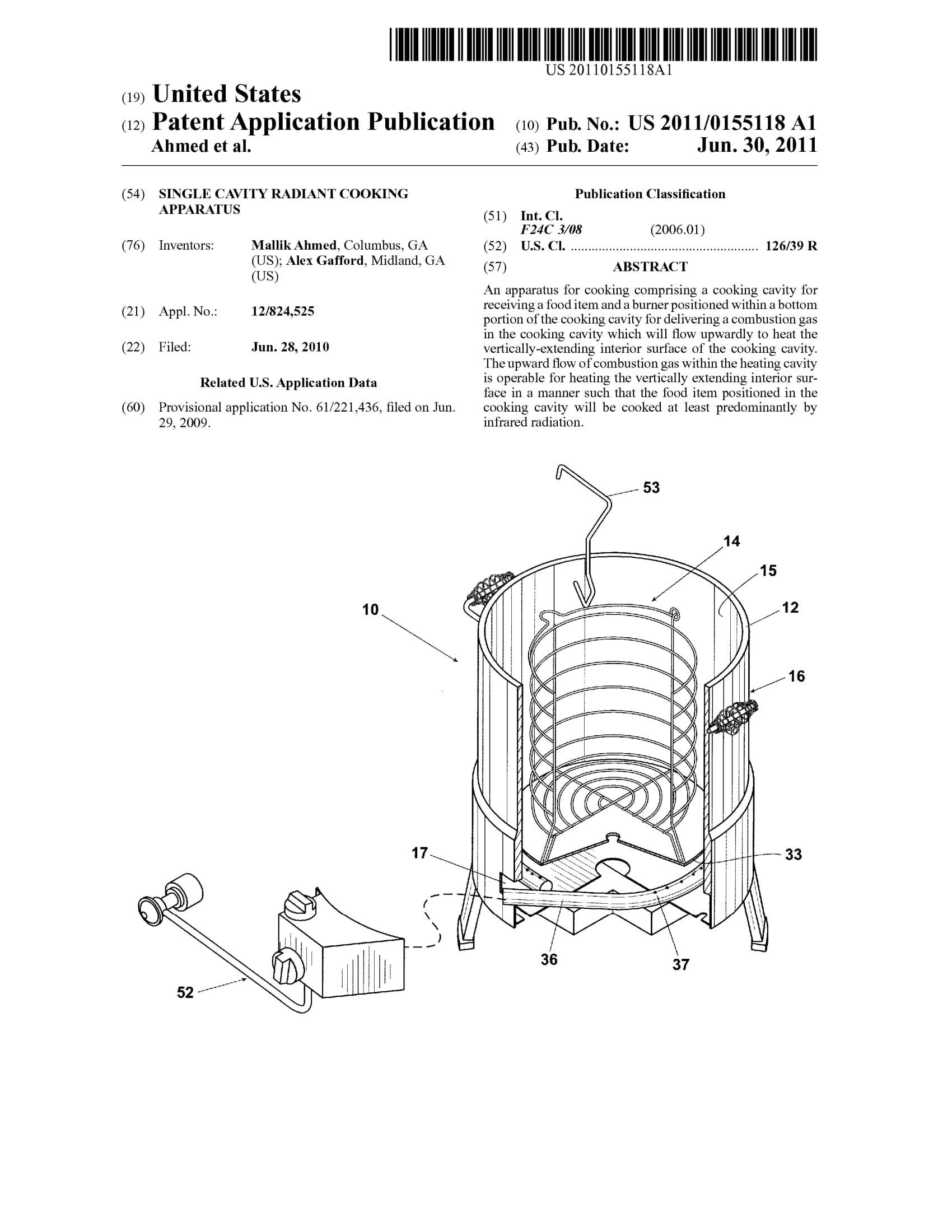US20110155118 Charbroil radiant cooking apparatus-1