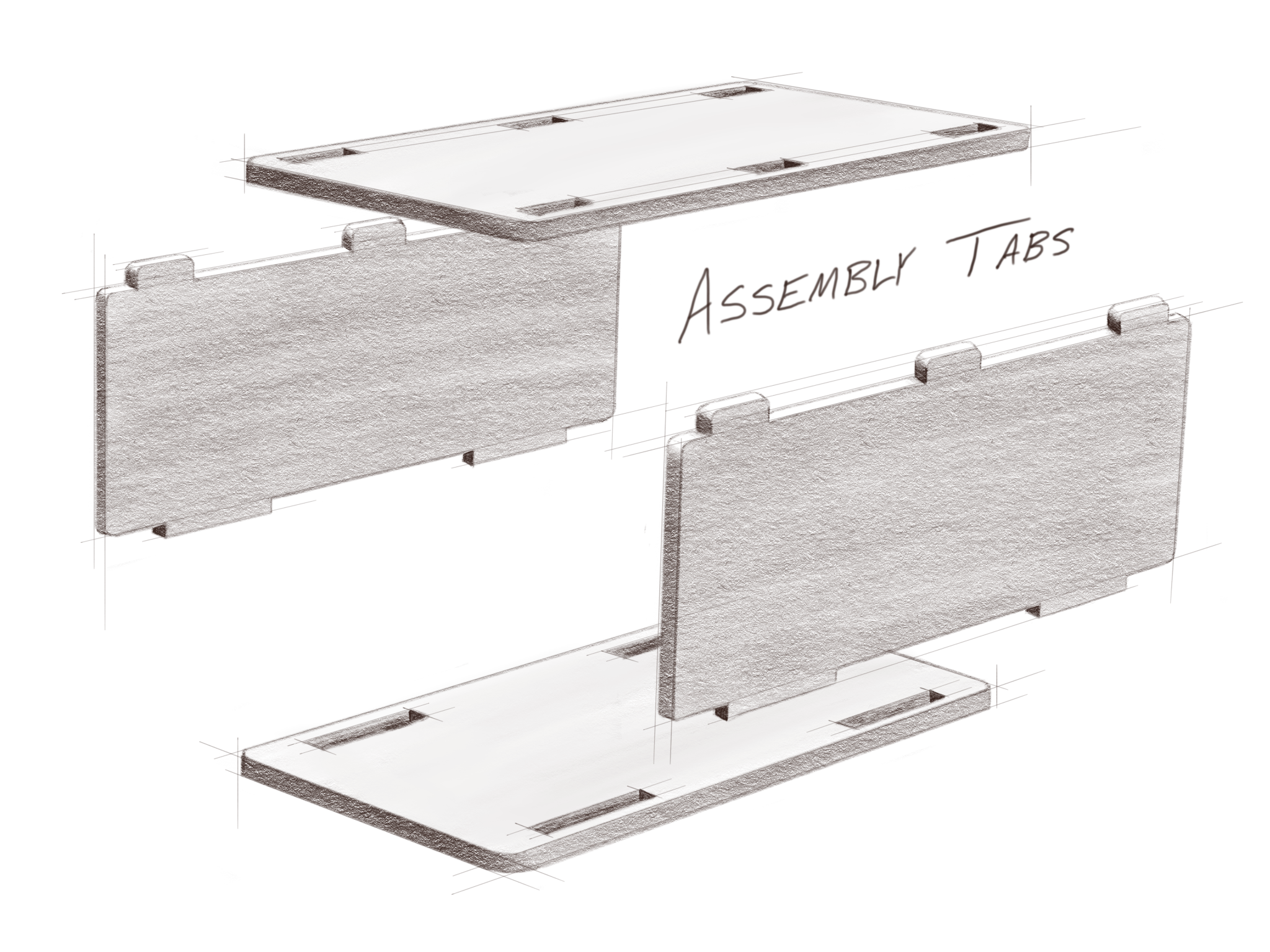 During the sheet metal process, assembly tabs can be designed into the part so that the components self-locate.