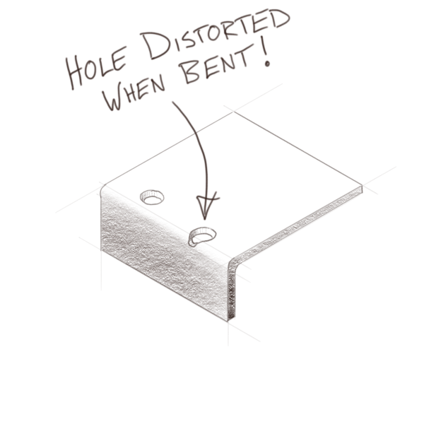 Hole distortion in the sheet metal process